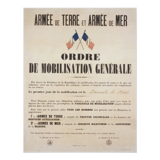 French Army and Navy.  General Mobilisation Order. Poster