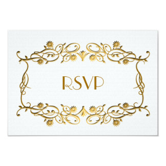 French Art Deco Ivory White Gold Foil Wedding RSVP Card