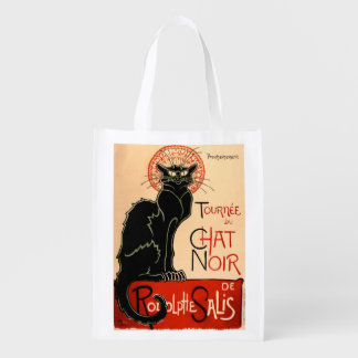 French Art Nouveau Black Cat Poster - Grocery Bag