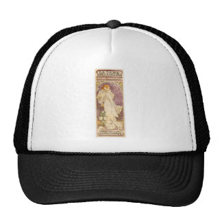 French Art Nouveau Camellias - Alphonse Mucha Cap