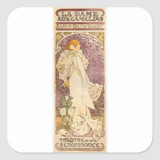 French Art Nouveau Camellias - Alphonse Mucha Square Sticker