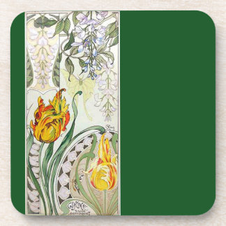 French Art Nouveau Floral Flowers Coaster
