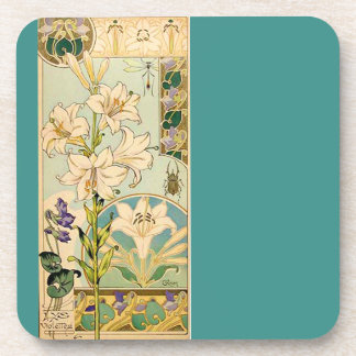 French Art Nouveau Floral Flowers Coaster