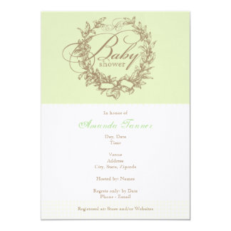 "French Baby Shower Invitation - Green 5"" X 7"" Invitation Card"