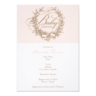 "French Baby Shower Invitation - Pink 5"" X 7"" Invitation Card"