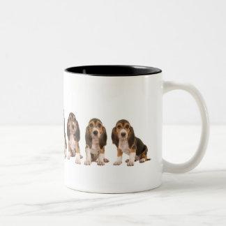 French basset puppies Two-Tone coffee mug