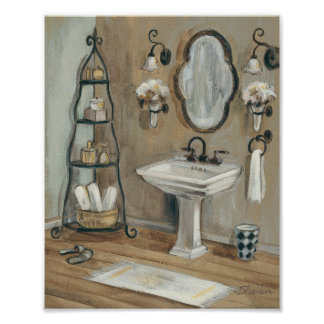 French Bathroom with Mirror and Sink Posters