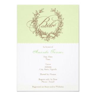 French Bebe Shower Invitation - Green