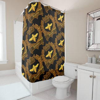 French Bee Shower Curtain