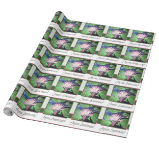 French Birthday Pink Lily and Green Wrapping Paper