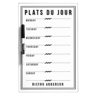 French Bistro Personalized Weekly Menu Dry Erase Board