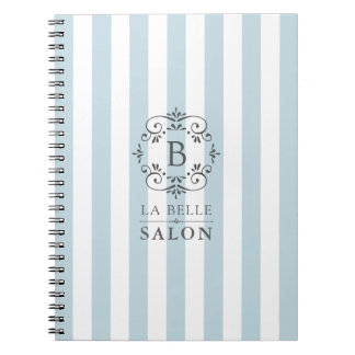 French Blue and White Stripes with Monogram Notebook
