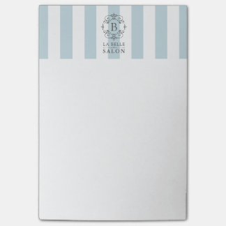 French Blue Awning Stripes with Business Monogram Post-it Notes