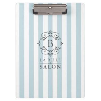 French Blue Awning Stripes with Monogram Logo Clipboards