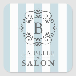 French Blue Awning Stripes with Monogram Square Sticker