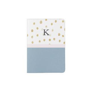 French blue blush pink gold glitter color block passport holder