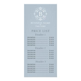 French Blue Elegant Monogram Price List Custom Rack Cards