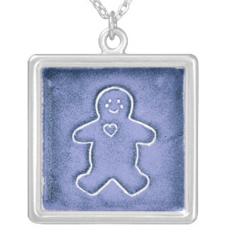 French Blue Gingerbread Man with Heart Cookie Personalized Necklace