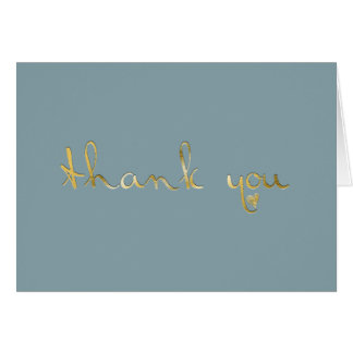 French Blue Gold Embossed-effect Heart Thank You Greeting Card
