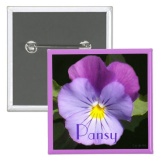 French Blue Purple Pansy Button