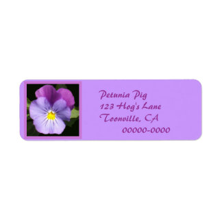 French Blue Purple Pansy Return Address Label