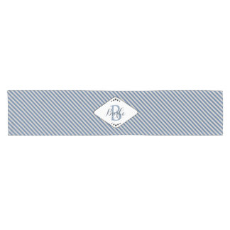 French Blue Stripes Monogrammed Table Runner