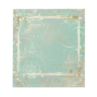 French Blue Toile Elegant Notepad Scratch Pad