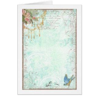 French Bluebird & Tassels Greeting Card