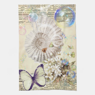 French botanical butterfly modern vintage seashell tea towel