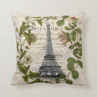 french botanical ivy leaves  paris eiffel tower cushion