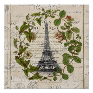 french botanical ivy leaves  paris eiffel tower poster