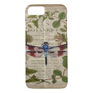 french botanical leaves modern vintage dragonfly iPhone 7 case