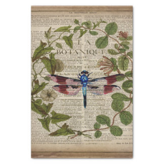 french botanical leaves modern vintage dragonfly tissue paper