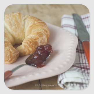 French breakfast with croissant square sticker
