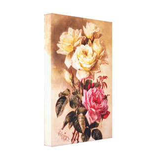 French Bridal Roses Wrapped Canvas Canvas Prints