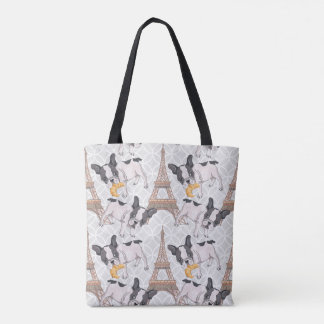 French Buldog with Croissant |  Eiffel Tower Tote Bag