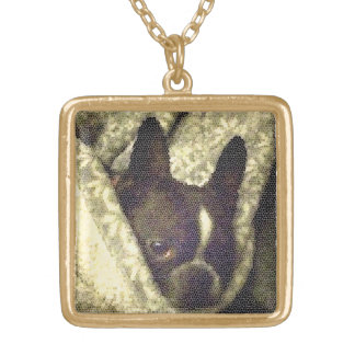 French Bull Dog Neckless Square Pendant Necklace