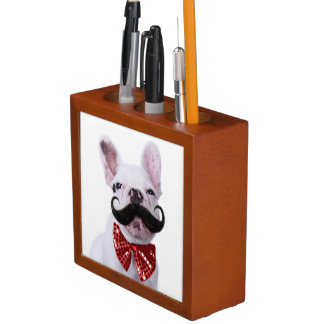 French Bull Dog Puppy With Mustache Desk Organiser