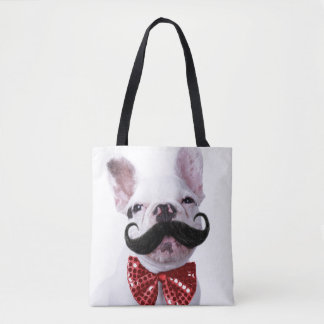 French Bull Dog Puppy With Mustache Tote Bag