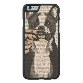 French Bulldog and Finger Moustache Carved® Maple iPhone 6 Case