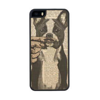 French Bulldog and Finger Moustache Wood iPhone SE/5/5s Case