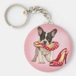French bulldog and polka dot shoe key chains