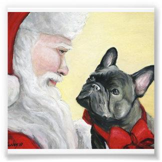 French Bulldog and Santa Dog Art Print Photo