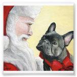 French Bulldog and Santa Dog Art Print Photograph