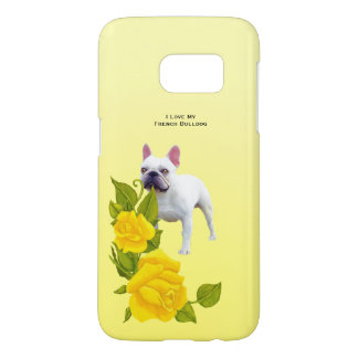 French Bulldog and yellow roses