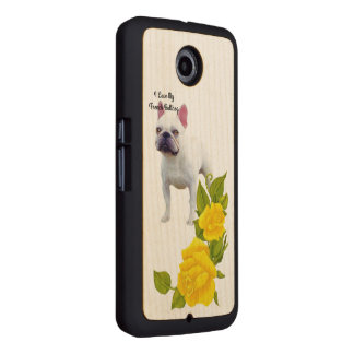 French Bulldog and yellow roses Wood Phone Case