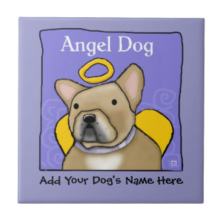 French Bulldog Angel Personalize Ceramic Tile