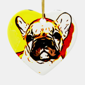 French Bulldog Art Double-Sided Heart Ceramic Christmas Ornament