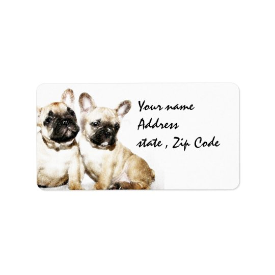 French Bulldog art Label