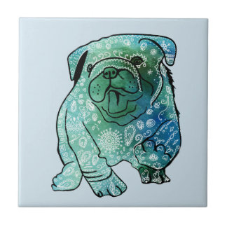 French Bulldog Art Mandala  Ceramic Photo Tile
